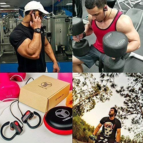 TREBLAB XR500 Bluetooth Headphones, Best Wireless Earbuds for Sports, Running or Gym Workout. 2018 Updated Version. IPX7 Waterproof, Sweatproof, Secure-Fit Headset. Noise Cancelling Earphones w/Mic by Treblab (Image #9)