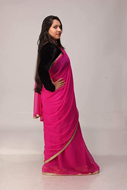 cdc8d7b04f04c5 Pink Saree With black Velvet blouse piece: Amazon.in: Clothing & Accessories