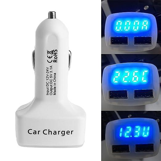 Cansenty - Cargador de coche USB dual con voltaje, 5 V, 3,1 A ...