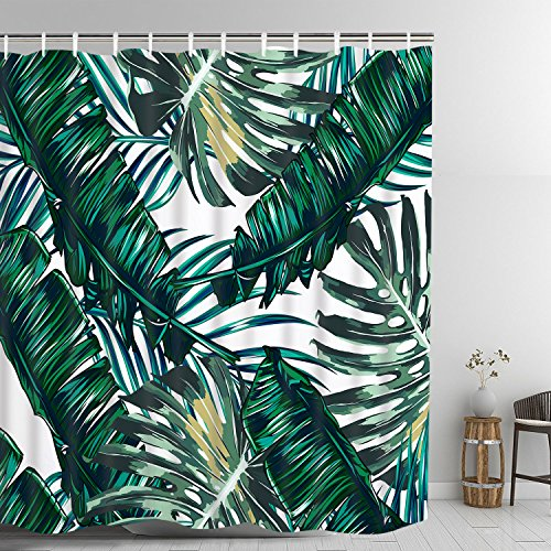 (Bathroom Decorative Shower Curtain Green Rainforest Tropical Plant Banana Leaf & Palm Leaf Shower Curtains Fabric Curtain Durable Waterproof Bath Curtain Sets with 12 Hooks)