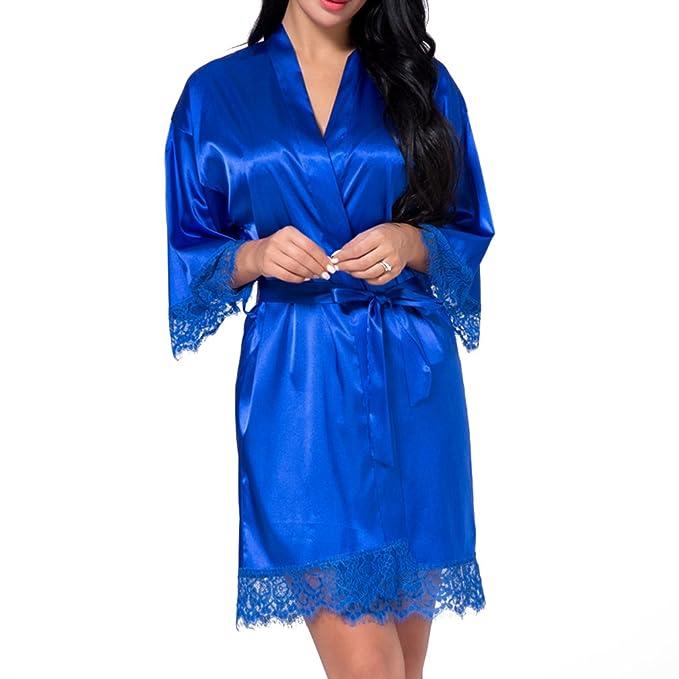 8ceb764fdb Juleya Sexy Bridesmaid Short Satin Bride Robe Lace Kimono Women Wedding  Sleepwear Bathrobe Lingerie Clothes Home  Amazon.co.uk  Clothing