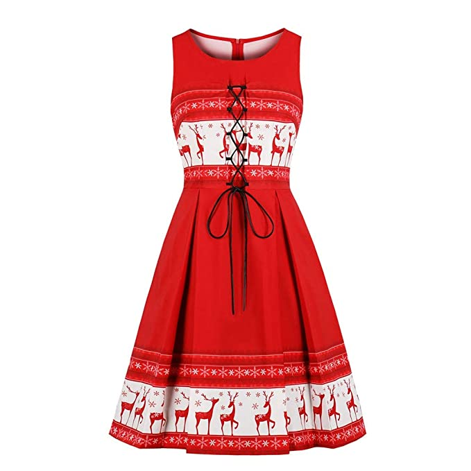 694ca79e8055c Nicetage Women s Vintage Print Short Sleeve Lace Retro A-Line Party Swing  Dress