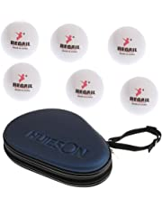 MagiDeal Waterproof Shock-proof Table Tennis Racket Paddle Bat Hard Case Cover Can Hold 2 Bats With 6 Pieces 40mm White Ping Pong Balls