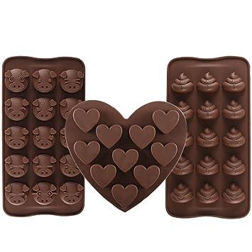 3 pieza silicona chocolate Forma Cerdo & Poop Emoji & Corazón Praline Forma y cubitera cubitos