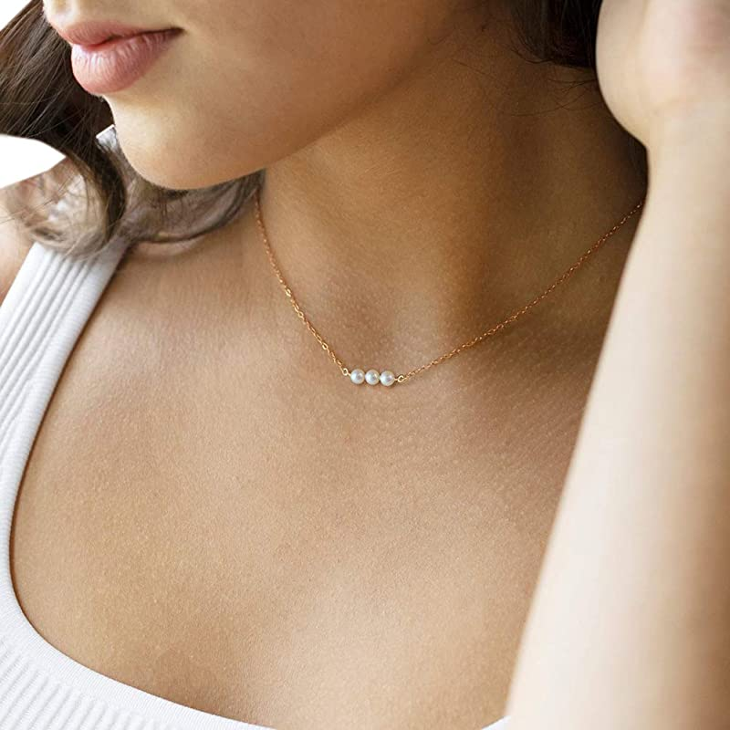Artisan necklace Abstract silver pearl design Sterling silver pearl necklace Gift for her Geometric pearl choker necklace Pearl pendant