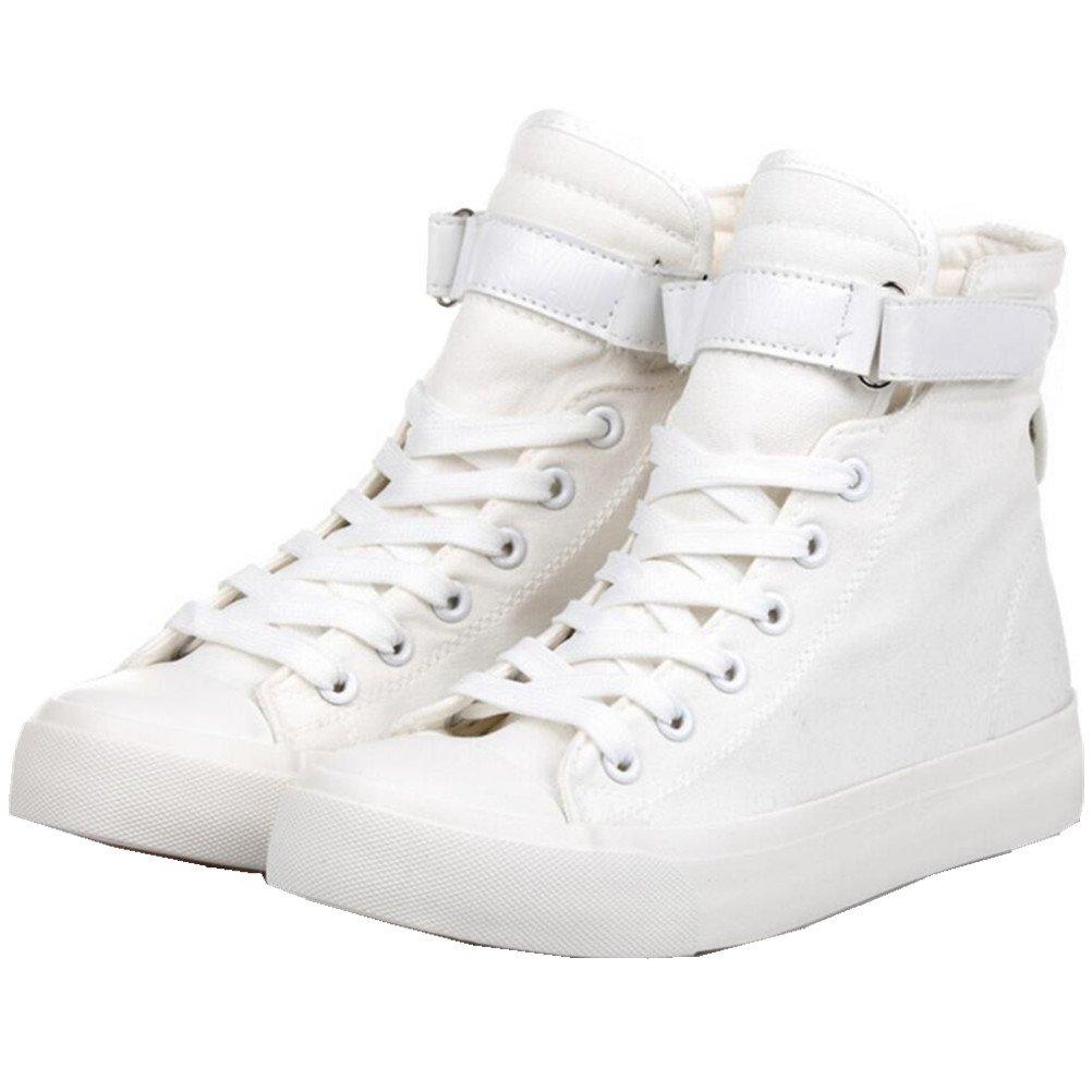 ACE SHOCK Women's Casual High Top Flat Canvas Shoes Fashion Sneakers B01J7MPQ4G 6 M US White