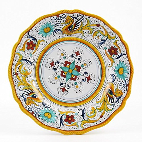 Hand Painted Italian Ceramic 11-inch Dinner Plate Scallop Rim Raffaellesco - Handmade in Deruta