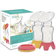 Manual Breast Pump Silicone Breastmilk - Dobor ( 2017 New Design ) BPA Free Breastpump Including 2 Lids And 2 Bases For New Mom,Great For On The Go And Easy To Use (2 Pack)