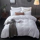 Lausonhouse Cotton Waffle Duvet Cover Set,100% Cotton Yarn Dyed Waffle Woven Stripe Beding Set - King- White
