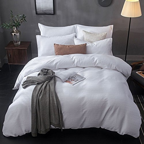 (Lausonhouse Yarn Dyed Waffle Woven Stripe 100% Cotton Duvet Cover Set - Queen)