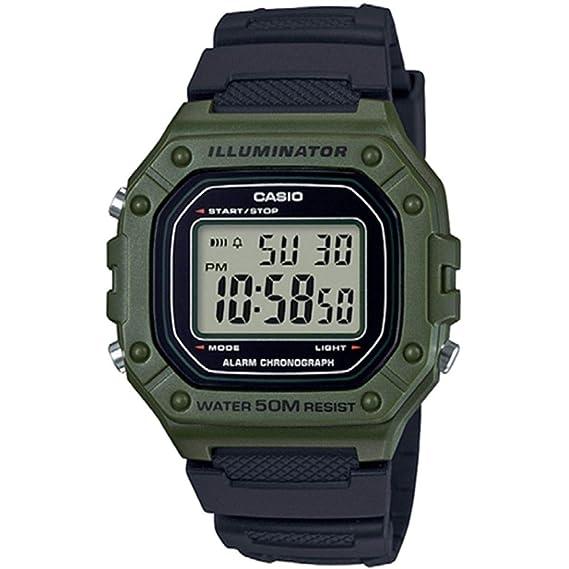 Casio Reloj Digital para Hombre de Cuarzo con Correa en Resina W-218H-3AVEF: Amazon.es: Relojes