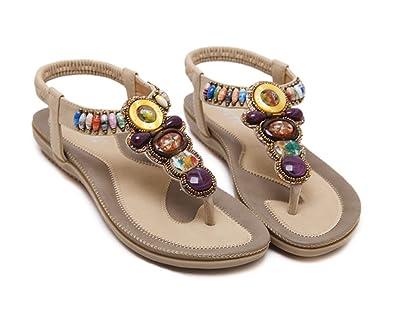 c974c5596ac6b2 kamma Bohemian Girls Bling Glitter Rhinestone T-Strap Cushioned Slingback  Thong Flat Sandals Flip-