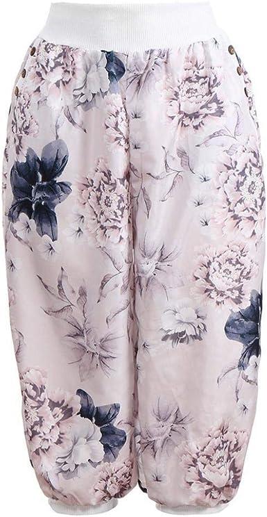 Pantalon Ete Femme Élégant Vintage Imprimé Fleur Taille