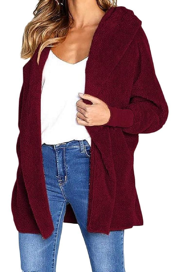 YUNY Womens Solid Warm Mid Long Hood Open-Front Velvet Outwear Coat Pattern1 S