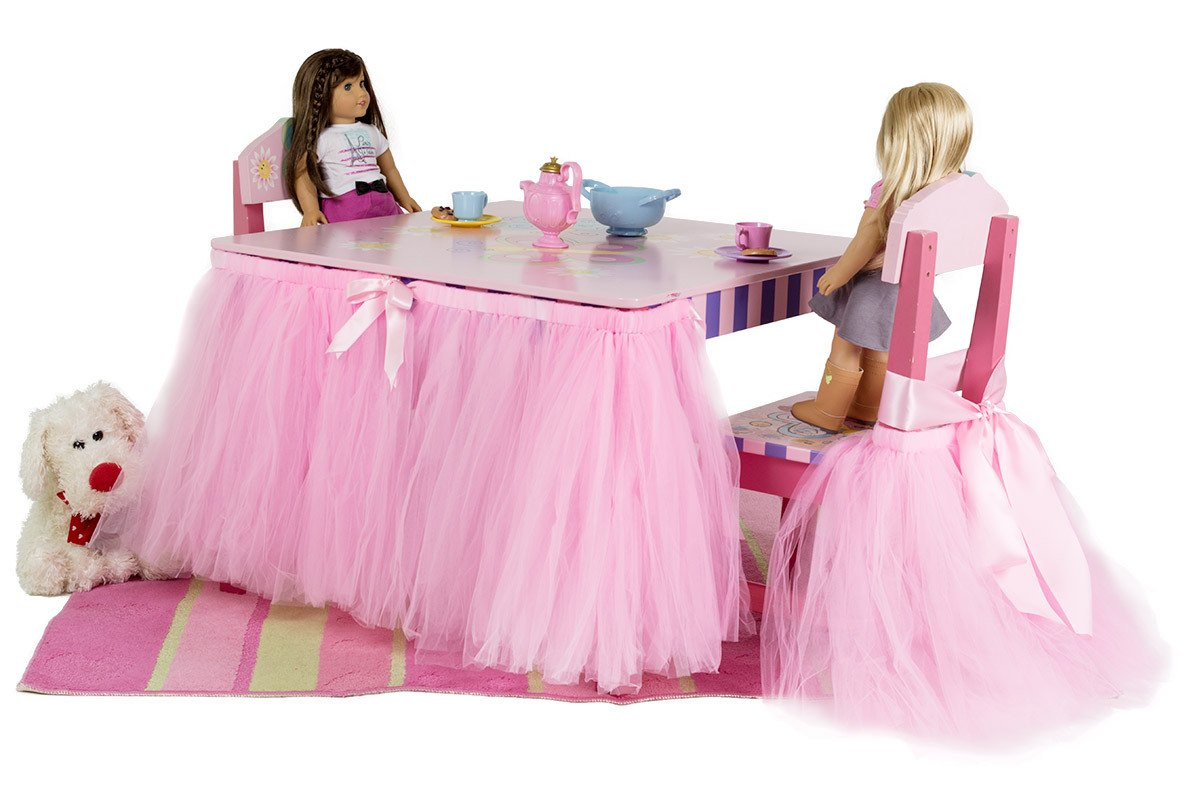 Beyonder Handmade Tulle Tutu Chair Skirt with Sash Bow for Party, Wedding & Home Decoration (White)