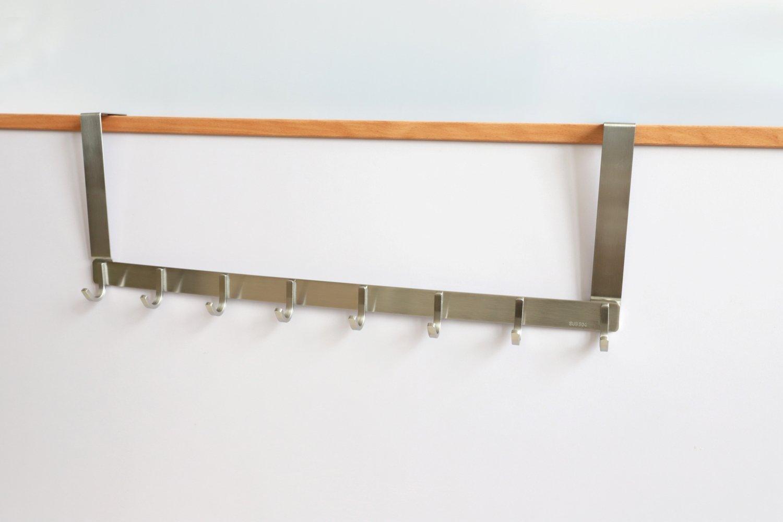 TOGU Over The Door Hook Sus 304 Stainless Steel Heavy Duty Door Hooks (8 Hooks) Organizer for Coats/Towels/Clothes/Wreath,Suitable for 1-1.8'' Thickness Door and 0.05'' Door Frame Gap,Brushed Finish