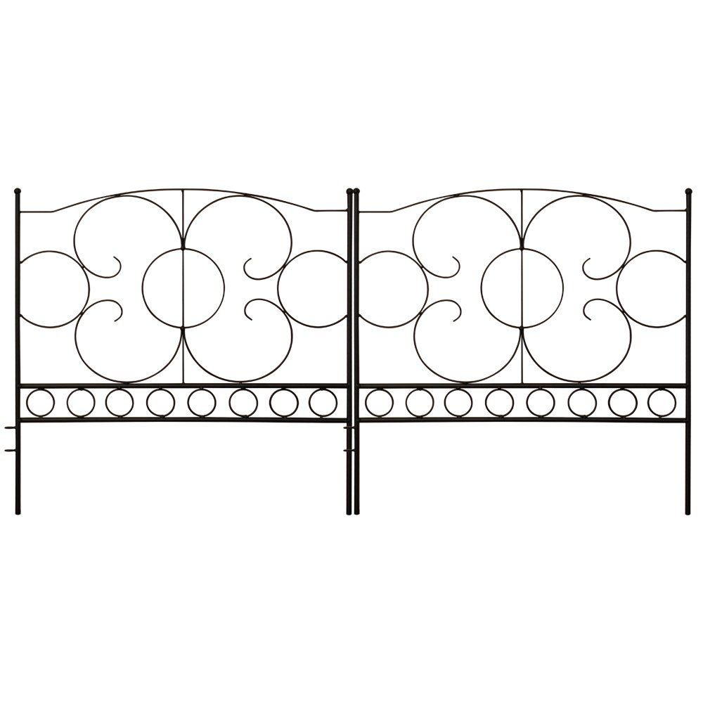 Gray Bunny GB-6885 Landscaping Garden Fence, Set of 5 Black Panels, 24 x 24 in Per Panel, Rust Proof Cast Iron Metal Movable Wire Border Picket Edging Folding Decor Fences for Flower Bed/Pet Barrier by Gray Bunny (Image #1)