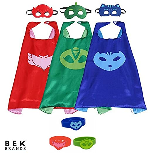 Bek Brands PJ Masks Owlette, Catboy, and Gekko with Rubber Bracelet Superhero Cape and