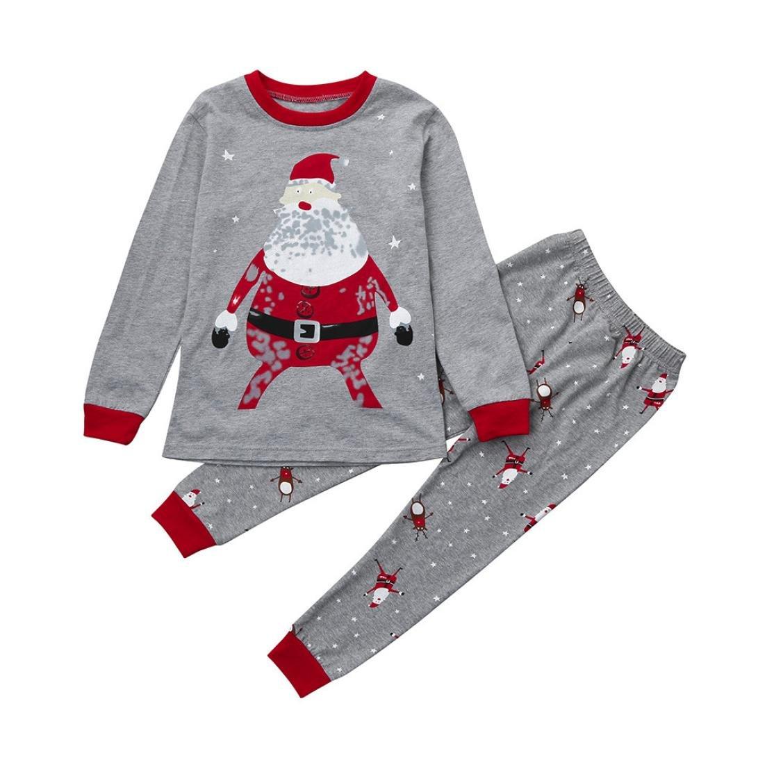 2pcs Natale Neonato Unisex Stampa Santa Cime Pantaloni Natalizi Pigiami Abiti Set