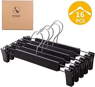 VEHHE Pants Hangers Skirt Hangers, 16 Pack Black Plastic Dress Trousers Pant Hanger with Non-Slip Big Clips and 360 Rotatable Hook (Black)