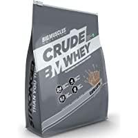 Bigmuscles Nutrition Crude Whey - 1 kg (Cafe Latte), Whey Protein Concentrate 80%, 24g Protein, 5.5g BCAA, 4 g Glutamine