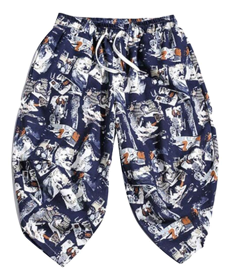 HANA+DORA Men Casual Print Loose Baggy Elastic Waist Capri Harem Pants