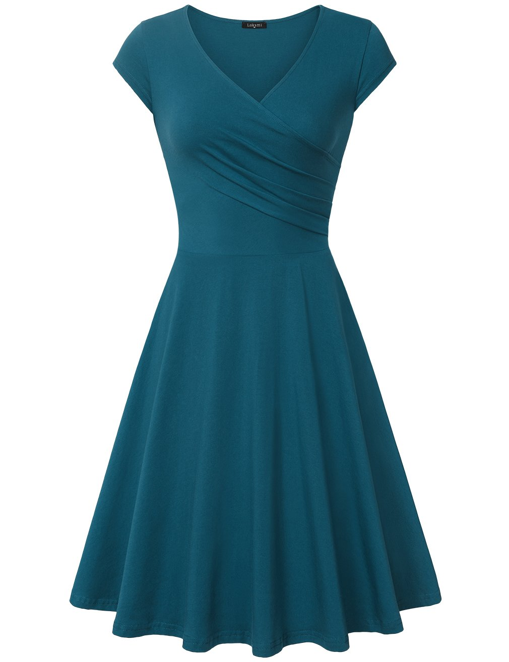 Laksmi Women's v-Neck Solid Short-Sleeve Knee Fit-and-Flare Dress, Dark Cyan, XX-Large