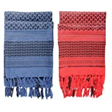Micoop Premium Military Shemagh Tactical Desert Scarf Wrap(2 Pack) (Blue and Red)