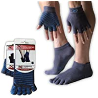 YogaAddict Yoga Socks and Gloves Set, For Any Type of Yoga and Pilates, Non Slip Fitness and Yoga Accessories for Women and Men