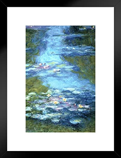 Claude Monet Water Lilies Pond French Impressionist Painter Art Matted Framed Wall Art Print 20×26