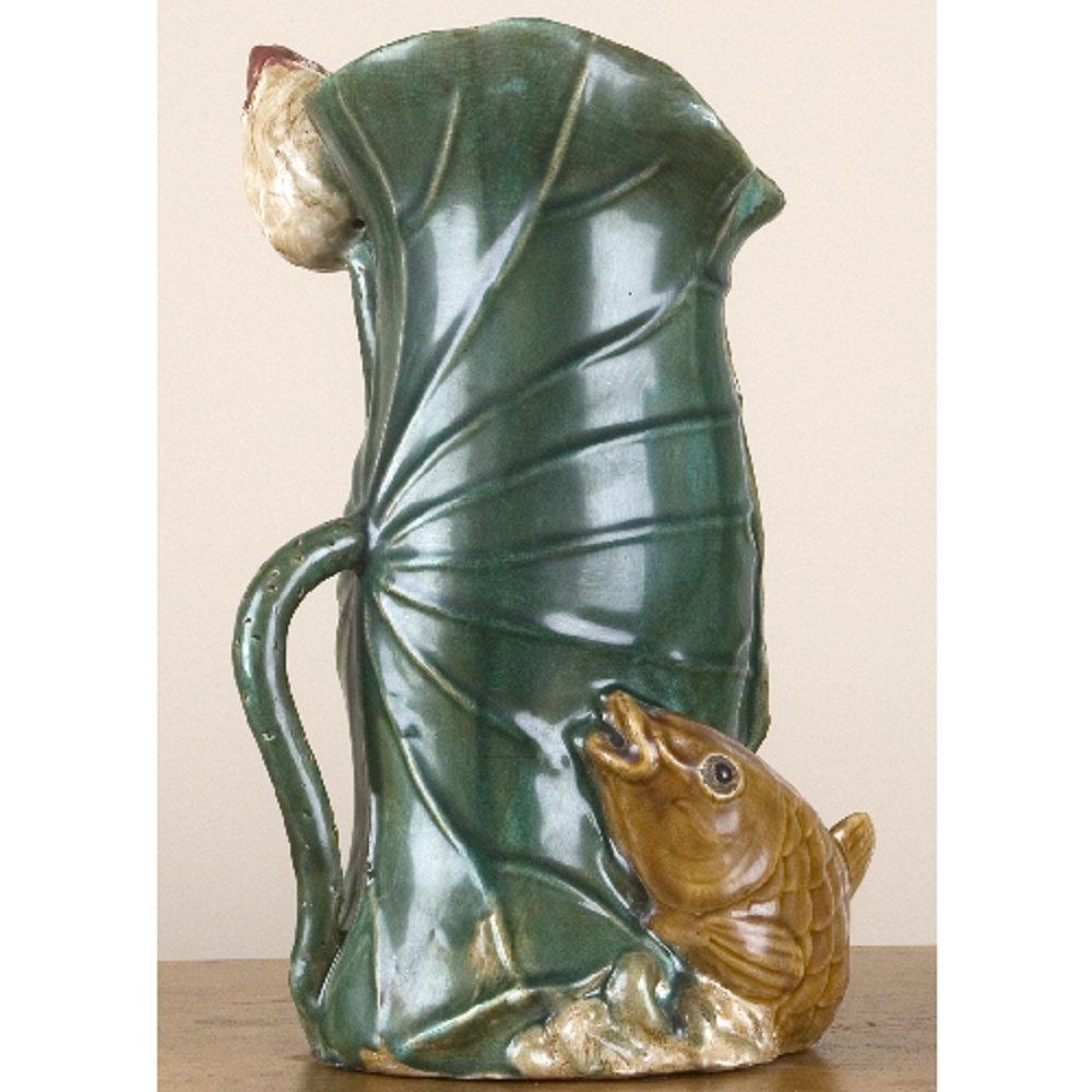 Home decor. Green Fish Lotus Leaf Vase. Dimension: 9 x 9 x 13. Pattern: Majolica.