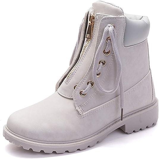 Imagen deBotas de Mujer Cuero Impermeables Botines Invierno Moda Zapatos Nieve Piel Forradas Calientes Planas Martin Boots para Mujer