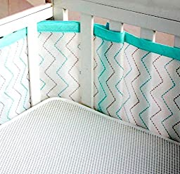 Breathable Crib Bumper with Mesh Fabric - Safe Padding Provides Extra Protection From Bumps by Nazelle Baby