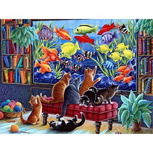 (NOveltyhua Square Diamond Embroidery Full Diamond Mosaic DIY 3D Diamond Painting Cross Stitch Cat Wants to Catch Fish Rhinestones Round Drill 70x100cm)