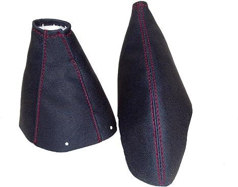 The Tuning-Shop Ltd Gear /& cuffia leva freno a mano nero scamosciata cuciture rosse