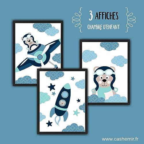 Affiche bébé, décoration chambre bébé garçon, illustration enfant ourson  aviateur astronaute bleu turquoise lot de 3, réf.3