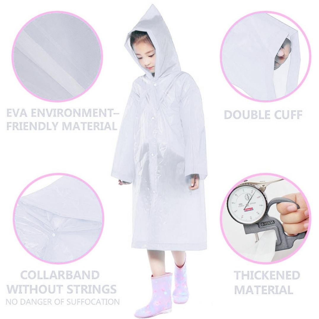Tpingfe Portable Reusable Raincoats Children Rain Ponchos For 6-12 Years Old, 1PC (Clear) by Tpingfe (Image #6)