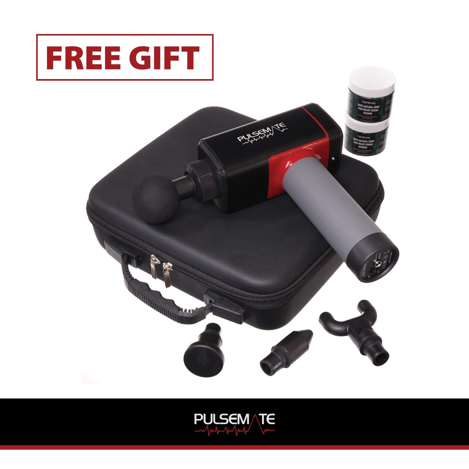 Massage Gun – PULSEMATE Quiet Technology – Professional Deep Tissue Massager for Muscle Tension Relief with 4 Variable Speeds Custom Travel Case Included