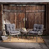 Grey Modern 3pc. Wicker Deep Seating Patio Chat Set | Contemporary Furniture is Perfect to Home Outdoor by the Veranda, Garden, Pool, Porch or Deck Review