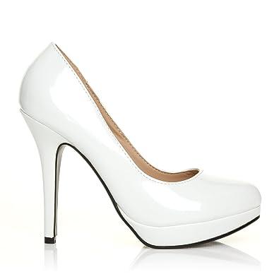 54ea85c03d14e9 EVE Weiße Lack Leder PU Pumps Stiletto Hohe Absatz Schuhe - Weiß Lack