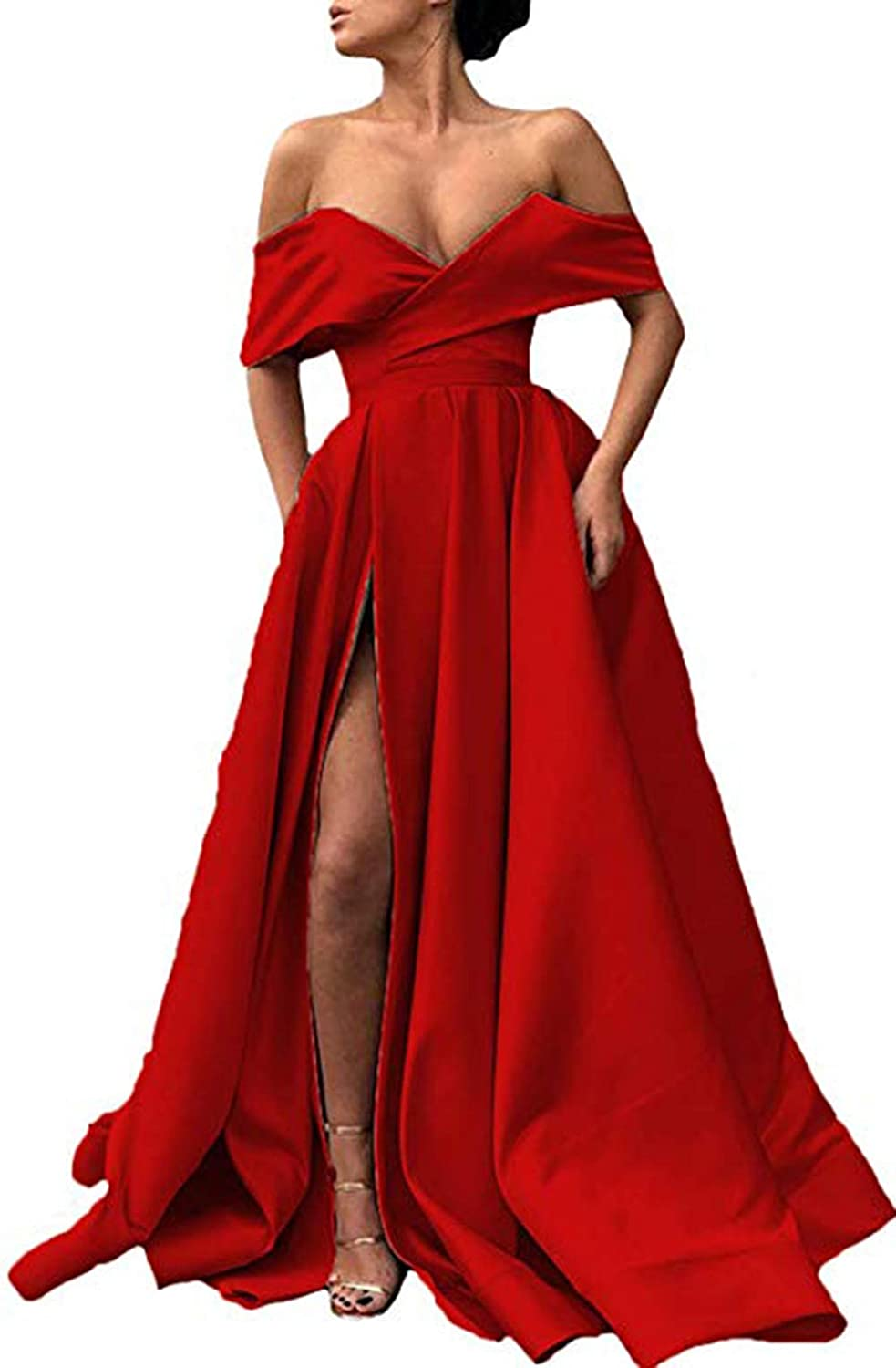 Red Ri Yun Womens Off The Shoulder Prom Dresses Long Split 2019 ALine Satin Formal Evening Ball Gowns with Pockets