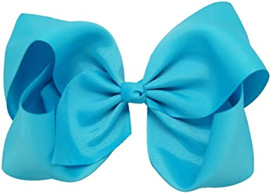 "2 TURQUOISE SATIN 3/"" BOWS GIRLS RIBBON HAIR ALLIGATOR CLIP SET NEW"
