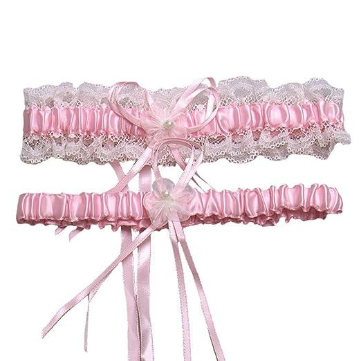 97533bb7ac XY Fancy 5 Colors Lace Ruffle Satin Wedding Garter Set of 2 Bridal Garter  Belt Toss
