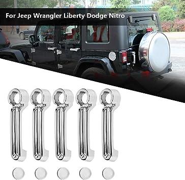 KSTE 5pcs Cromo del Coche de la manija de Puerta Cola de Ajuste de la Cubierta for Jeep Wrangler Libertad Dodge Nitro