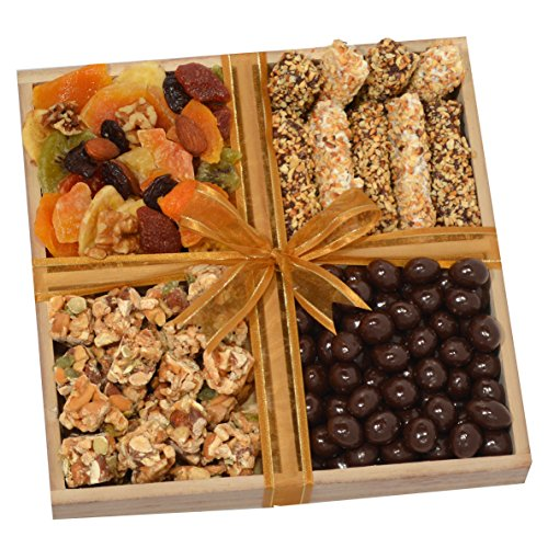 Holiday Gourmet Gift Tray with Peppermint Bark, Chocolate Covered Fruits & Nuts Gift Basket (Gift Basket Fruit Chocolate)