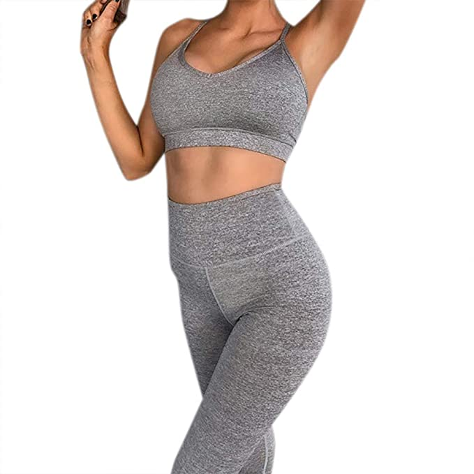 30765b24881a2 Allywit- Women High Waist Textured Workout Leggings Booty Yoga Pants  Slimming Ruched Tights Gray