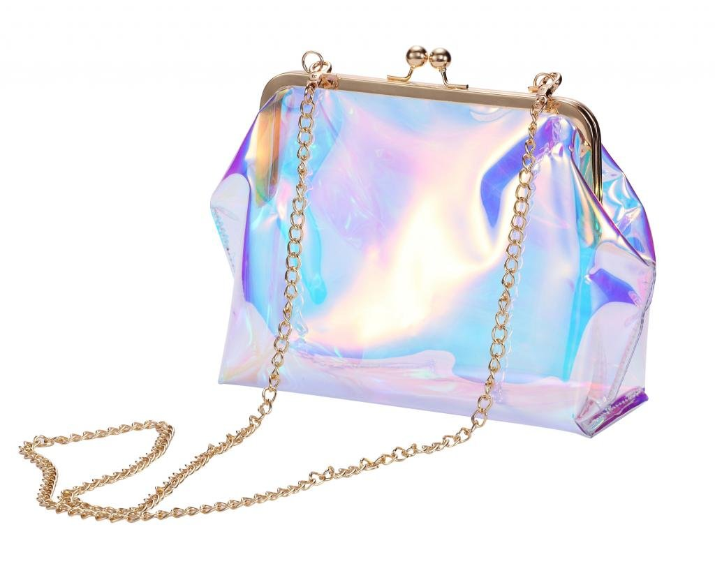 Louise Maelys Clear PVC Kiss Lock Chain Cross Body Bag Transparent Clutch for Women