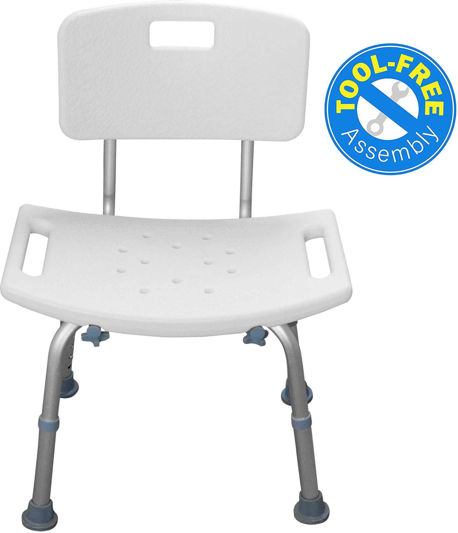 Shower Chair with Back - Tool Free Bathtub Chair for Handicap, Disabled, Seniors & Elderly - Height Adjustable Medical Bath Seat Handles for Home Care Usage - by BrightCare