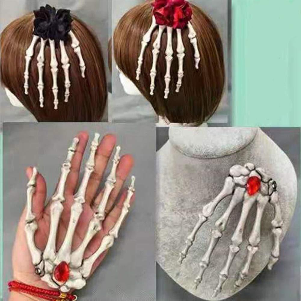 Alician Women Punk Rock Halloween Cosplay Party Skeleton Hand Bone Hair Clip Big Hairpin Without Flower Head Buckle Halloween Decoration
