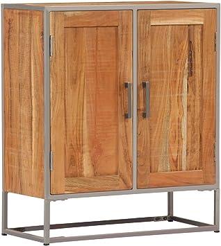 UnfadeMemory Aparador Comedor,Aparador para Salon,Decoración de Hogarcon,con 2 Puertas,Estilo Industrial,Madera Maciza de Acacia,65x30x75cm: Amazon.es: Hogar
